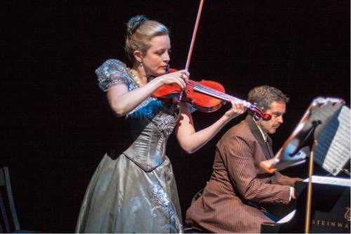 "Rick Pollock  |  Courtesy   Actor Robert Scott Smith with violinist Kathryn Eberle and pianist Jason Hardink perform in Utah playwright Eric Samuelsen's ""The Kreutzer Sonata."""