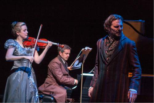 "Rick Pollock  |  Courtesy   Actor Robert Scott Smith with violinist Kathryn Eberle and pianist Jason Hardink perform in Utah playwright Eric Samuelson's ""The Kreutzer Sonata."""