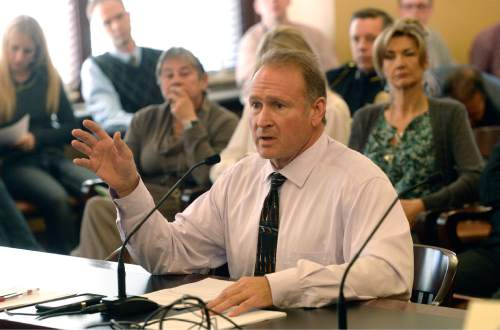 Al Hartmann  |  The Salt Lake Tribune Senator Mark Madsen, R-Saratoga Springs once again discusses medical marijuana legislation before the  Health and Human Services Interim Committee Wednesday Oct. 21 at the Utah State Capitol.