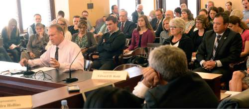 Al Hartmann  |  The Salt Lake Tribune Senator Mark Madsen, R-Saratoga Springs, left, once again discusses medical marijuana legislation before the  Health and Human Services Interim Committee Wednesday Oct. 21 at the Utah State Capitol.