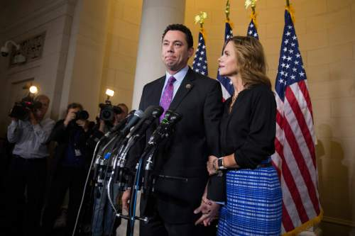 Rep. Jason Chaffetz, R-Utah, accompanied by his wife Julie, pauses during a news conference on Capitol Hill in Washington, Thursday, Oct. 8, 2015, after a nomination meeting to replace House Speaker John Boehner. In a stunning move, Majority Leader Kevin McCarthy withdrew his candidacy for House speaker Thursday, throwing Congress' Republican leadership into chaos. (AP Photo/Evan Vucci)