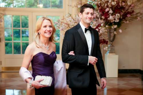 Rep. Paul Ryan, R-Wis., and his wife Janna arrive for a state dinner for Japanese Prime Minister Shinzo Abe, Tuesday, April 28, 2015, at the White House in Washington. (AP Photo/Andrew Harnik)