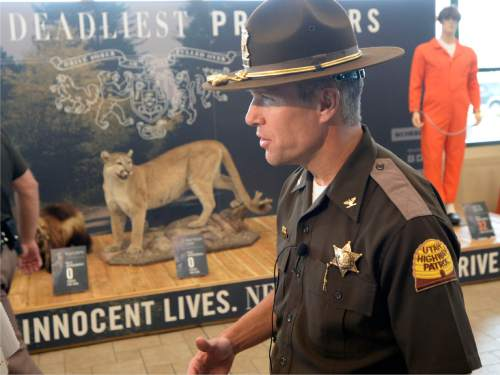 "Al Hartmann |  Tribune file photo UHP Col. Daniel Fuhr speaks at a Memorial Day DUI prevention press conference at Scheels All Sports in Sandy on Thursday, May 21, 2015.  Behind him at the store's entrance is a 20-foot exhibit, titled ""Utah's Deadliest Predators,"" which features a drunk driver dummy."