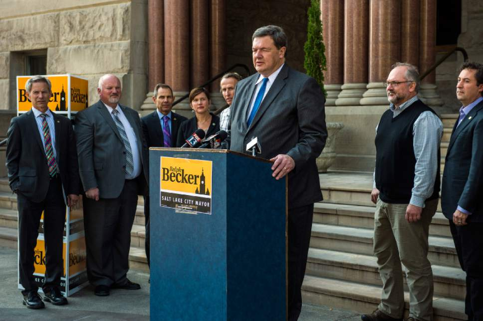 Chris Detrick  |  The Salt Lake Tribune Carlton Christensen endorses Salt Lake City Mayor Ralph Becker for reelection during a press conference outside of the City and County Building Thursday October 22, 2015.