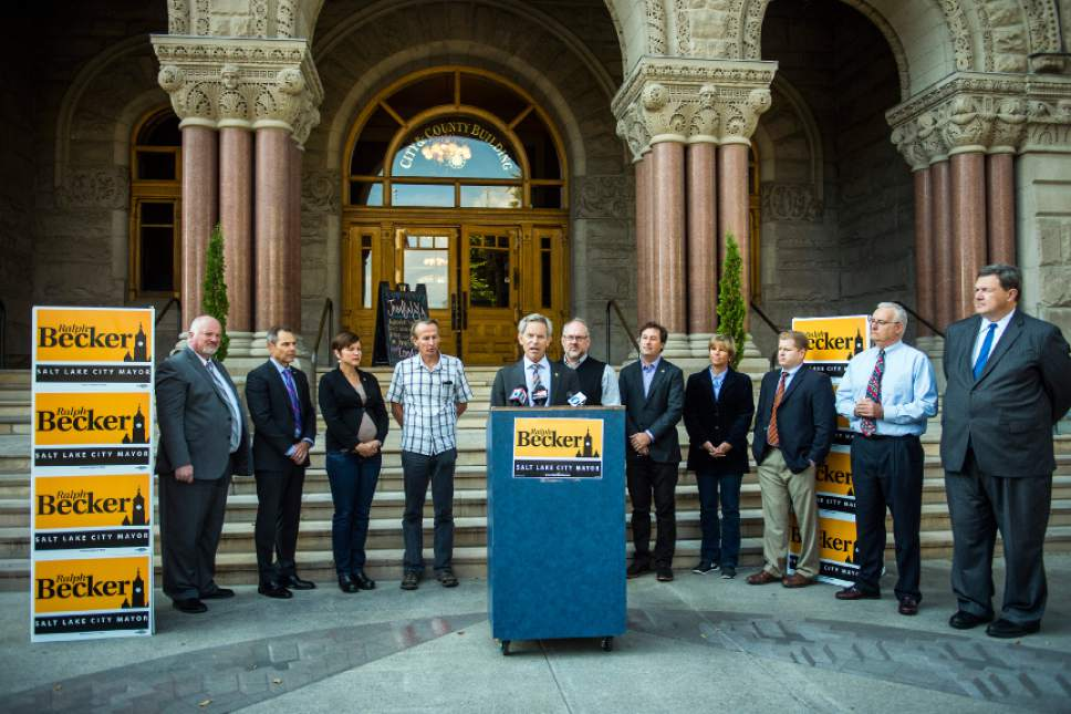 Chris Detrick  |  The Salt Lake Tribune Salt Lake City Mayor Ralph Becker speaks during a press conference outside of the City and County Building Thursday October 22, 2015.