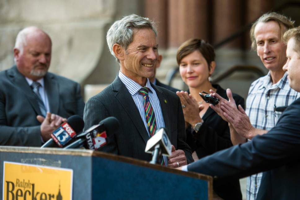Chris Detrick  |  The Salt Lake Tribune Salt Lake City Mayor Ralph Becker is introduced during a press conference outside of the City and County Building Thursday October 22, 2015.