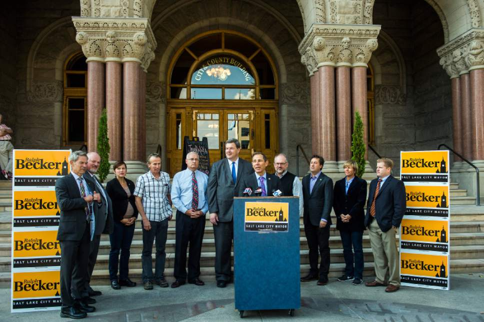 Chris Detrick  |  The Salt Lake Tribune Provo Mayor John R. Curtis endorses Salt Lake City Mayor Ralph Becker for reelection during a press conference outside of the City and County Building Thursday October 22, 2015.
