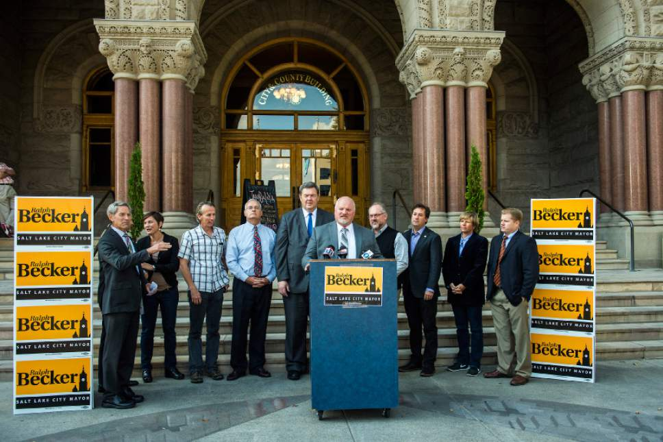 Chris Detrick  |  The Salt Lake Tribune Bluffdale Mayor Derk Timothy endorses Salt Lake City Mayor Ralph Becker for reelection during a press conference outside of the City and County Building Thursday October 22, 2015.