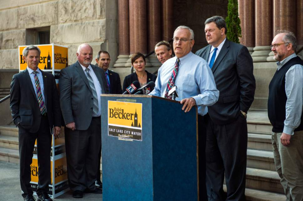Chris Detrick  |  The Salt Lake Tribune Richard Snelgrove endorses Salt Lake City Mayor Ralph Becker for reelection during a press conference outside of the City and County Building Thursday October 22, 2015.