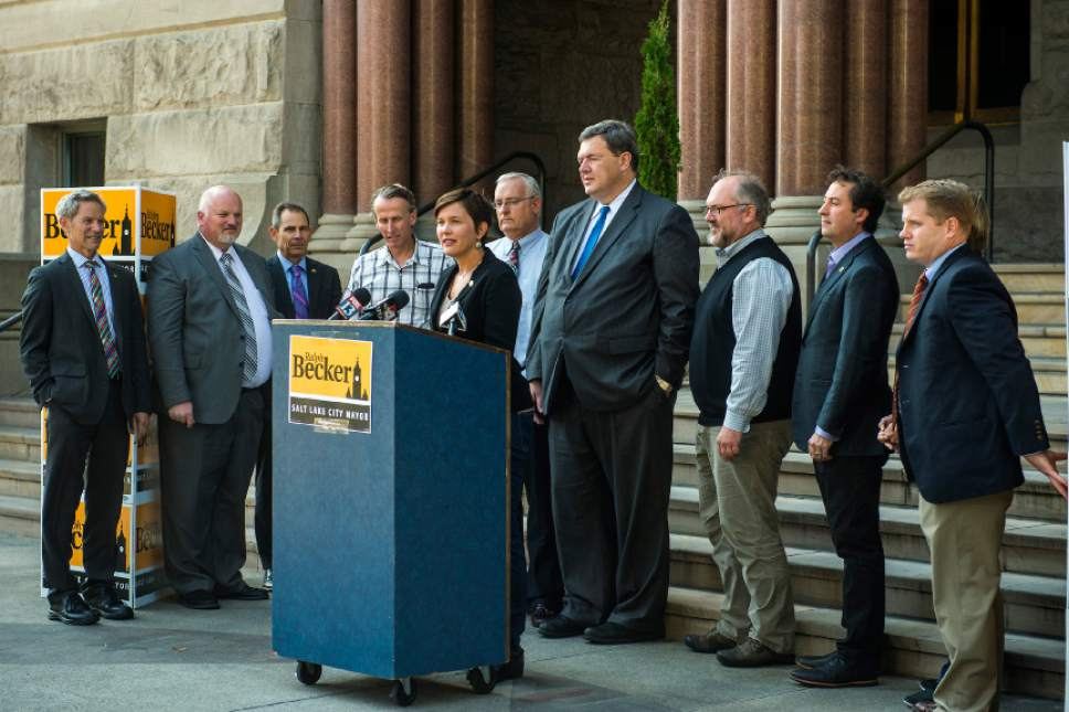 Chris Detrick  |  The Salt Lake Tribune  Erin Mendenhall, Salt Lake City Councilmember District 5, endorses Salt Lake City Mayor Ralph Becker for reelection during a press conference outside of the City and County Building Thursday October 22, 2015.