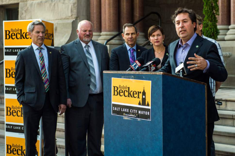 Chris Detrick  |  The Salt Lake Tribune Kyle LaMalfa, Salt Lake City Councilmember District 2, endorses Salt Lake City Mayor Ralph Becker for reelection during a press conference outside of the City and County Building Thursday October 22, 2015.