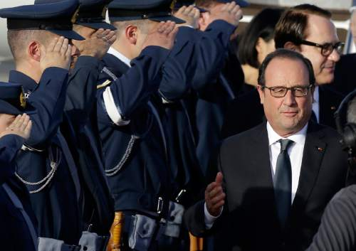 French President Francois Hollande arrives at the Athens international airport on Thursday, Oct. 22, 2015. Hollande is heading to Athens for a two-day visit, as Greece seeks help from European rescue lenders for relief on its massive bailout debts. (AP Photo/Thanassis Stavrakis)