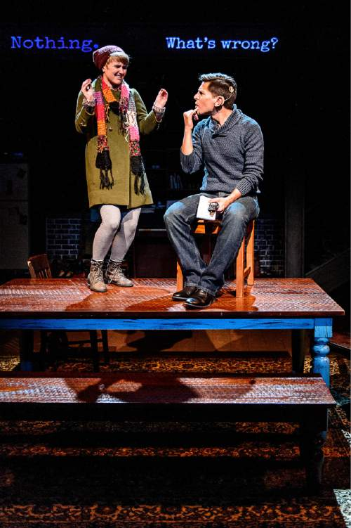 "Trent Nelson  |  The Salt Lake Tribune Amy Ware and Stephen Drabicki appear in the Salt Lake Acting Company's production of ""Tribes"", Wednesday October 14, 2015."