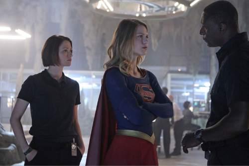 "Chyler Leigh as Alex Danvers, Melissa Benoist as Supergirl and David Harewood as Hank Henshaw in ""Supergirl.""  Photo: Sonja Flemming/CBS"