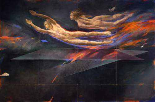 "Trevor Southey's 1981 mural ""Flight Aspirations,"" which created controversy at the time for its nude figures. Southey died on Tuesday, Oct. 20, 2015, in a Salt Lake City hospice, at the age of 75. Trevor Southey  