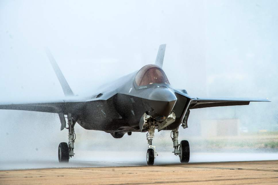 Chris Detrick  |  Tribune file photo A F-35 arrives at Hill Air Force Base in Sept. 2015.