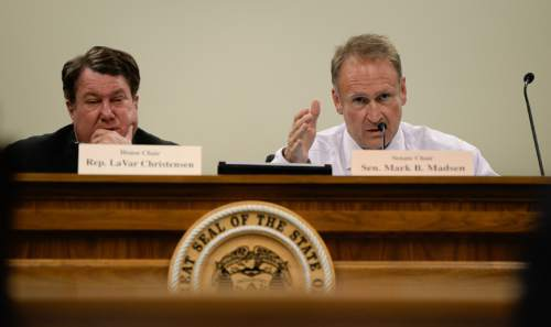 Francisco Kjolseth | The Salt Lake Tribune Senator Mark Madsen, right, leads the discussion on possible death penalty legislation during a hearing at the Utah Capitol on Wednesday, Oct. 21, 2015. At left is Rep. LaVar Christensen.