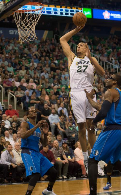 Rick Egan  |  The Salt Lake Tribune  Utah Jazz center Rudy Gobert (27) goes in for a slam dunk, in NBA action in the final home game of the season at EnergySolutions Arena, Salt Lake City, Monday, April 13, 2015.