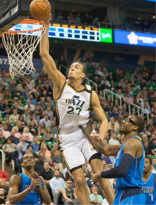 Rick Egan  |  The Salt Lake Tribune  Utah Jazz center Rudy Gobert (27) attempts a slam dunk, in NBA action in Salt Lake City, Monday, April 13, 2015.