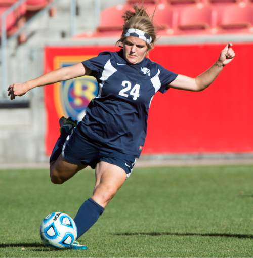 Rick Egan  |  The Salt Lake Tribune  Cydne Baker (24) kicks the ball for the Maeser Prep Lions, in the 2A girls soccer state title game at Rio Tinto Stadium, Saturday, October 24, 2015.