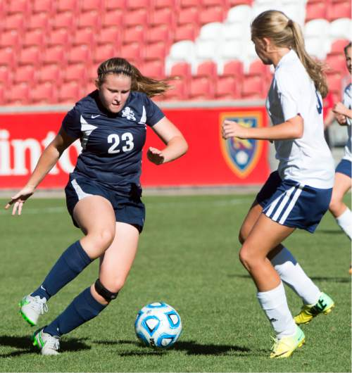 Rick Egan  |  The Salt Lake Tribune  Kassia McGuire (23) kicks the ball for the Maeser Prep Lions, in the 2A girls soccer state title game at Rio Tinto Stadium, Saturday, October 24, 2015.