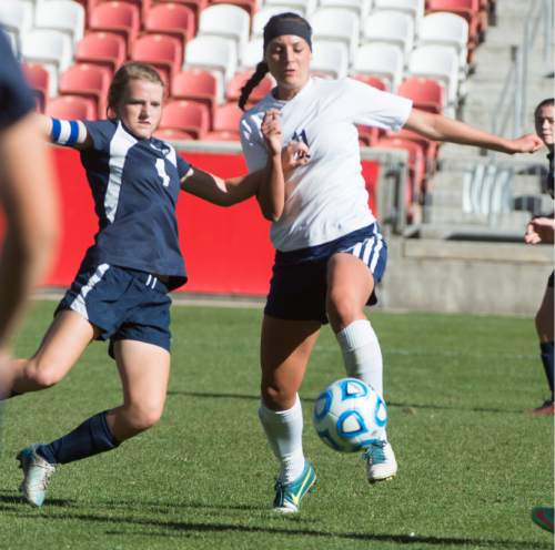 Rick Egan  |  The Salt Lake Tribune   Maeser Prep Lions Sophie Cannon (4) , goes for the ball along with Millard's Emily Barber (11) the 2A girls soccer state title game at Rio Tinto Stadium, Saturday, October 24, 2015.