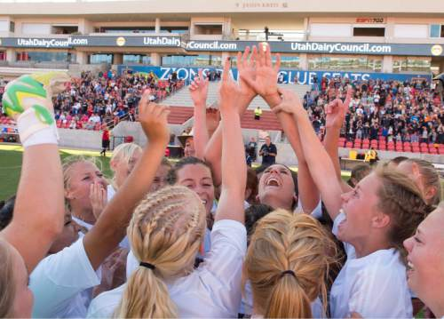Rick Egan  |  The Salt Lake Tribune  The Millard Eagles celebrate their 1-0 win over the Maeser Prep Lions, in the 2A girls soccer state title game at Rio Tinto Stadium, Saturday, October 24, 2015.