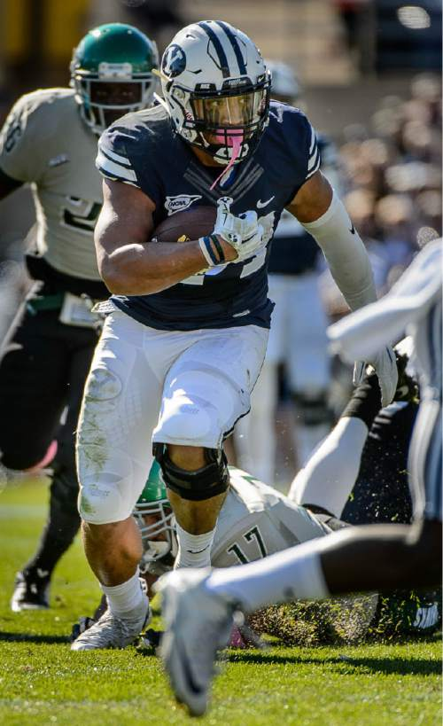 Trent Nelson     The Salt Lake Tribune Brigham Young Cougars running back Algernon Brown (24) runs for a touchdown as BYU hosts Wagner, NCAA football at LaVell Edwards Stadium in Provo, Saturday October 24, 2015.