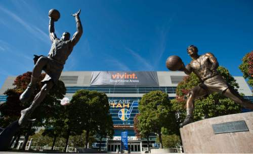 Steve Griffin  |  The Salt Lake Tribune  Provo, Utah company Vivint is the new naming rights sponsor for the former EnergySolutions Arena starting Monday, October 26, 2015. The Jazz will play their home games for the next 10 years at the Vivint Smart Home Arena in Salt Lake City,