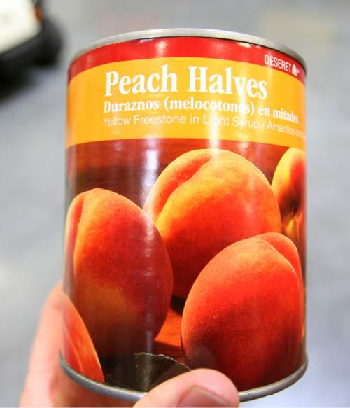 Steve Griffin  |  The Salt Lake Tribune  Peaches that were canned by the LDS Church are stored at the  Bishop's Central Storehouse Salt Lake City, on Tuesday, March 6, 2012.