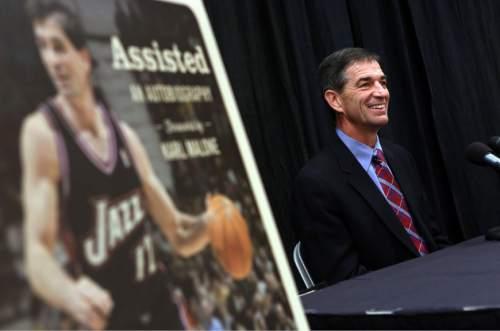 Francisco Kjolseth  |  The Salt Lake Tribune Former Utah Jazz player John Stockton holds a press conference at Energy Solutions Arena to promote his new book on Friday, Nov. 15, 2013.
