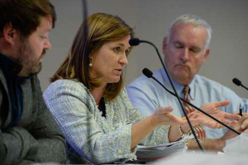 Francisco Kjolseth   The Salt Lake Tribune Salt Lake County Council member Jenny Wilson questions the Utah Association of Counties during a Salt Lake County Council during a council meeting on Tuesday, Oct. 27, 2015, regarding the UAC's decision to award Phil Lyman the County Commissioner of the Year award. Lyman is charged with a misdemeanor conviction in federal court for organizing an illegal ATV protest ride in a protected canyon area.