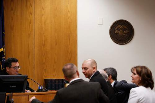 Judge Darold J. McDade talks with attorneys during Meagan Grunwald's trial at the Fourth District Court in Provo, Utah on Thursday, May 7, 2015. Grunwald is charged as an accomplice in the 2014 shooting that killed Utah County Sheriff's Sgt. Cory Wride and injured Deputy Greg Sherwood. SPENSER HEAPS, Daily Herald