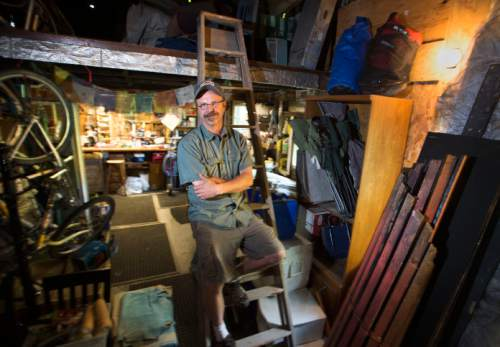 Steve Griffin  |  The Salt Lake Tribune  Set designer Randy Rasmussen, who has designed more than a decade's worth of shows for Plan-B Theatre company, inside the Magic Barn in the backyard of his Salt Lake City home, where he has designed and constructed most of the sets Thursday, August 20, 2015.  l
