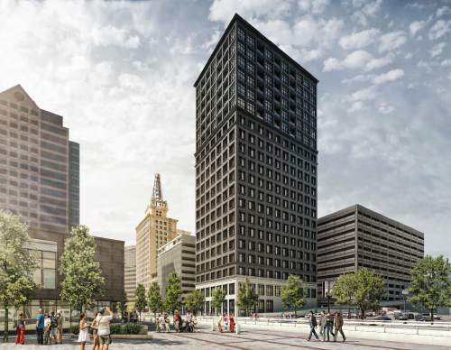 Courtesy Cushman & Wakefield | Commerce  Artists rendition of Regent Street Hotel, a 22-floor boutique hotel to be built on the northeast corner of Regent Street and 200 South in Salt Lake City.