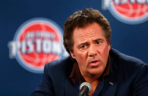 Detroit Pistons owner Tom Gores speaks before an NBA basketball game against the Utah Jazz, Wednesday, Oct. 28, 2015, in Auburn Hills, Mich. (AP Photo/Paul Sancya)