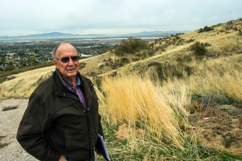 Chris Detrick  |  The Salt Lake Tribune Resident Earl Thomas poses for a portrait on Twin Hollow Mountain Wednesday October 28, 2015.  A pair of Utah developers are seeking a public land swap in the Bountiful foothills that they say will accommodate public access and conservation in two key spots.  Some nearby residents, however, fear the plan would invite high-density residential growth in the wrong place.