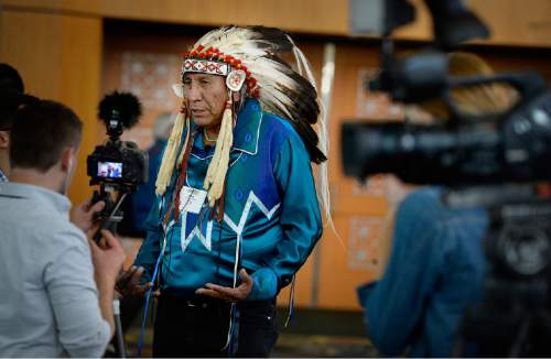 Scott Sommerdorf   |  The Salt Lake Tribune Chief Arvol Looking Horse, 19th Generation Keeper of the Sacred White Buffalo Calf Pipe and Leader of the Lakota Dakota Nakota Oyate, the Great Sioux Nation, is interviewed by visiting media, at the Parliament of World Religions Conference at the Salt Palace, Thursday, October 15, 2015.