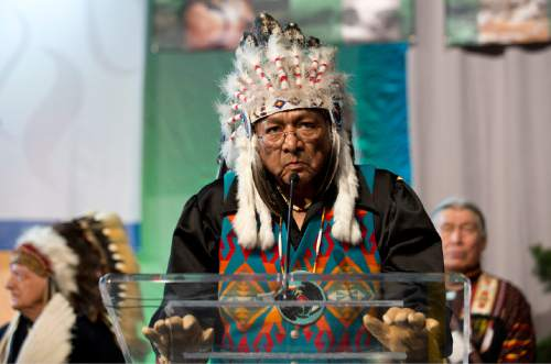 Lennie Mahler  |  The Salt Lake Tribune  Rupert Steele, Chairman of the Confederated Tribes of the Goshute Indian Reservation, speaks during the opening plenary at the 2015 Parliament of the World's Religions held inside the Salt Palace Convention Center on Thursday, Oct. 15, 2015, in Salt Lake City.