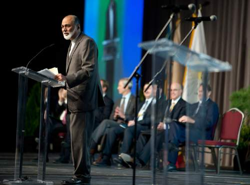 Lennie Mahler  |  The Salt Lake Tribune Imam Malik Mujahid, chairman for the Parliament of the World's Religions, speaks during the opening plenary at the 2015 Parliament held inside the Salt Palace Convention Center on Thursday in Salt Lake City.