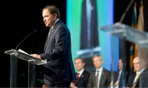 Lennie Mahler  |  The Salt Lake Tribune  Utah Gov. Gary Herbert speaks during the opening plenary at the 2015 Parliament of the World's Religions held inside the Salt Palace Convention Center on Thursday, Oct. 15, 2015, in Salt Lake City.