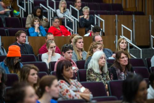 Chris Detrick  |  The Salt Lake Tribune Audience members listen as Sara Kruzan speaks during Pro Bono Week at the University of Utah S.J. Quinney College of Law Wednesday October 28, 2015. Kruzan was forced into a life of drugs and sexual exploitation and ended up sentenced at age 16 to life in prison without parole. She was eventually freed through the efforts of a group of attorneys working for free, including U. professor Michael Teter.