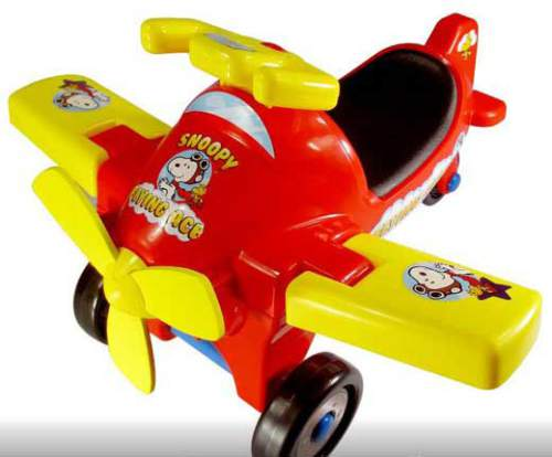 This product image made available by the Consumer Product Safety Commission (CPSC) shows the LaRose Industries Peanuts Flying Ace Ride-On toy.  The CPSC on Oct. 27, 2015 announced the product is being recalled because the toy's blue hubcaps can detach from the wheel's axle, posing a choking hazard to young children.  Consumers should immediately take the recalled ride-on toys away from children and return the product to any Target store for a full refund.  (CPSC via AP)