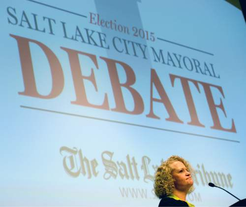 Steve Griffin  |  The Salt Lake Tribune  Jackie Biskupski listens to a question during a Salt Lake City Mayoral debate with Ralph Becker at the Main Salt Lake City Library in Salt Lake City, Wednesday, October 28, 2015.