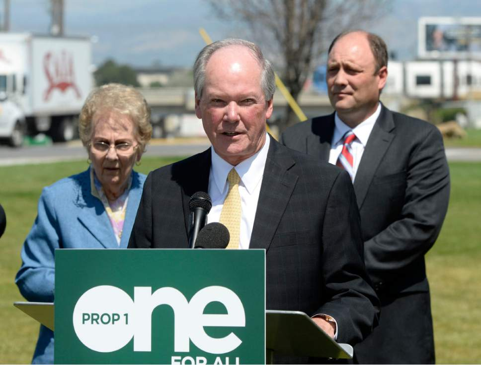 Al Hartmann  |  Tribune file photo Ron Jibson, Chairman, Utahns for Responsible Transportation Investments speaks to community leaders at an August press conference in Midvale. The political issue committee supporting the tax increase for transportation and transit has raised some $675,000 for the campaign. Opponents have no organized group in this election to run ads and campaign.