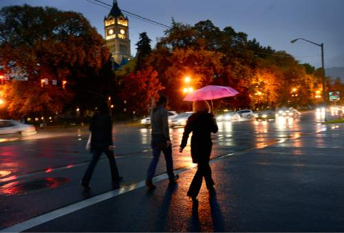 Scott Sommerdorf      The Salt Lake Tribune Mayoral candidate Jackie  Biskupski crosses State Street near the City and County Building, after walking with protestors and speaking at a rally and march by LGBT activists and allies, Thursday, October 29, 2015.