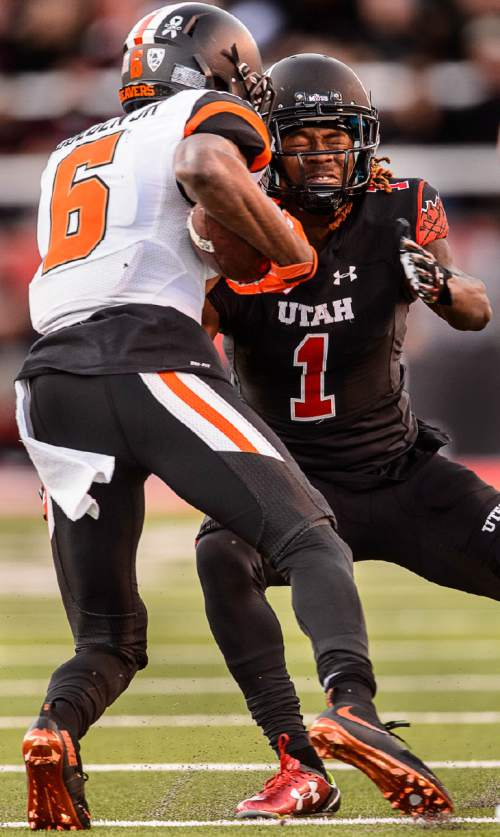 Trent Nelson  |  The Salt Lake Tribune Utah Utes defensive back Boobie Hobbs (1) braces for impact as Oregon State Beavers wide receiver Victor Bolden (6) carries the ball, as the University of Utah hosts Oregon State, NCAA football at Rice-Eccles Stadium in Salt Lake City, Saturday October 31, 2015.