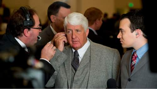 Steve Griffin  |  The Salt Lake Tribune  Representative Rob Bishop is prepped for a TV interview during the GOP election night party at the Hilton in downtown Salt Lake City, Tuesday November 4, 2014.