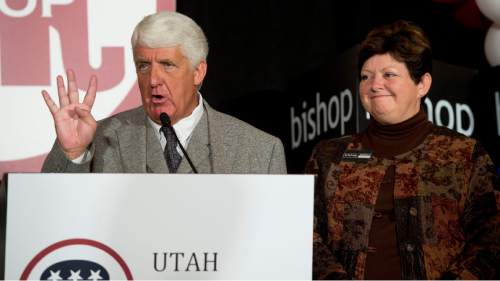 Steve Griffin  |  The Salt Lake Tribune  Representative Rob Bishop tells the crowd gathered at the GOP election night party at the Hilton in downtown Salt Lake City that he is excited to serve in the House of Representatives with four Republicans from Utah, alluding to a victory by Mia Love, Tuesday November 4, 2014.