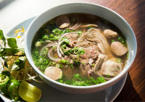 Rick Egan  |  The Salt Lake Tribune  Combination (meatball, brisket, steak)  pho at Little Saigon, a new Vietnamese restaurant in Sugar House.